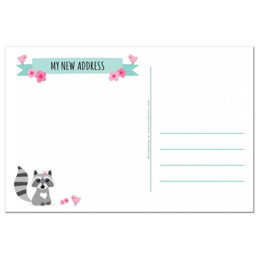 Back of cute raccoon moving announcement postcard