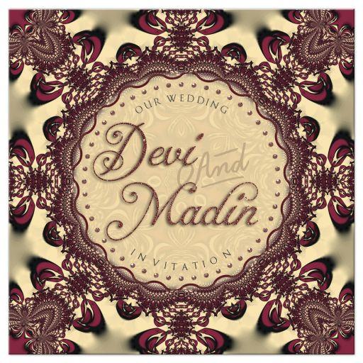 Wedding Invitation | Gold Satin Chocolate Lace