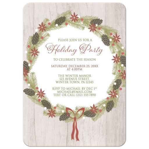 Holiday Invitations - Rustic Pine Cone Wreath Light Wood