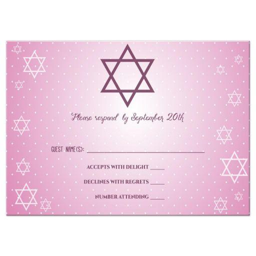 Star of David Shimmery Pink Bat Mitzvah Response Card