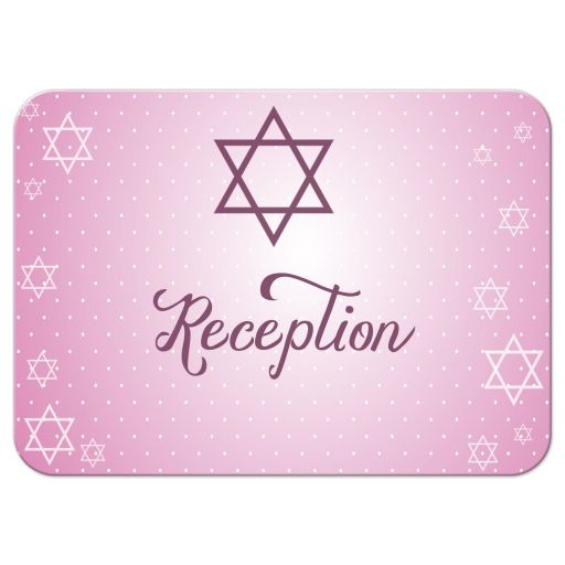 Star of David Shimmery Pink Bat Mitzvah Reception Card