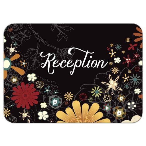 Retro Inspired Floral Bat Mitzvah Reception Card