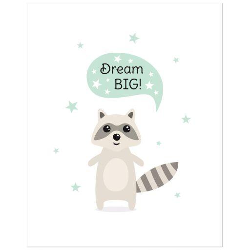 Cute wall art for children with cute raccoon saying dream big.