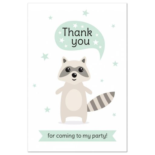 Cute raccoon birthday party thank you postcard for children.