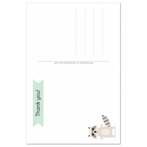 back of raccoon birthday thank you card for kids.