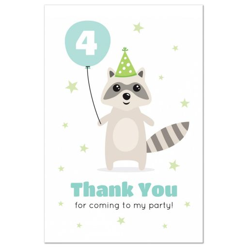 Raccoon with balloon and green party hat birthday party thank you postcard