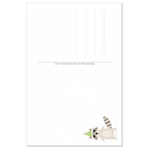 Back of cute raccoon thank you card