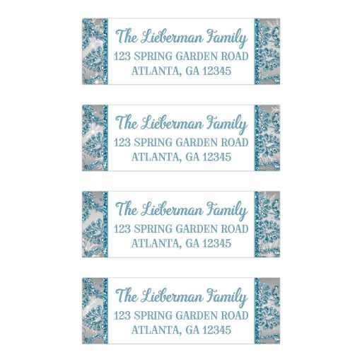 Great personalized ice blue, silver and white snowflakes and glitter damask pattern Bat Mitzvah return address labels.