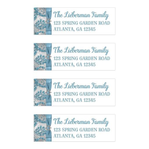 Best personalized winter wonderland bat mitzvah address labels in ice blue and white