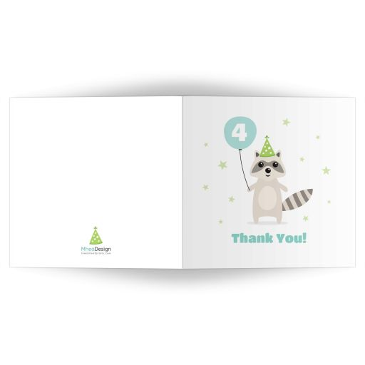 Raccoo with balloon and party hat. A cute, square, folded birthday party thank you card.