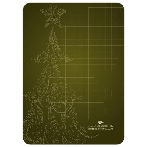 Silhouette Christmas Tree With Olive Green Background