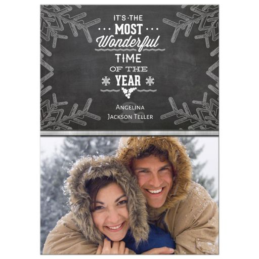 Vintage Chalkboard Snowflakes Holiday Photo Card