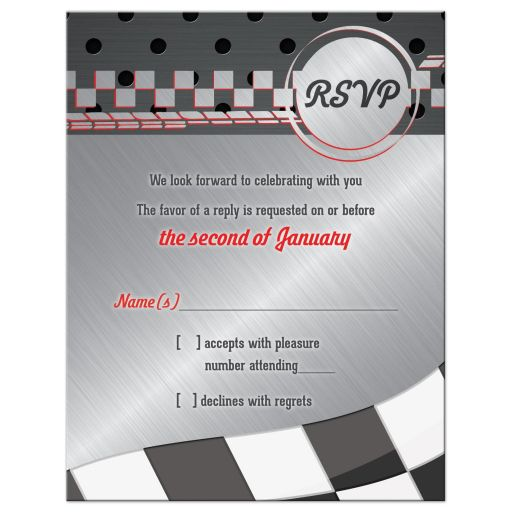 Red, grey, black and white race car car racing Bar Mitzvah RSVP reply card front