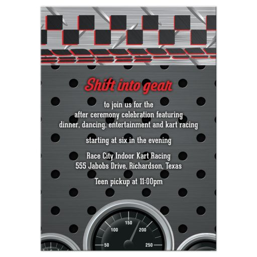 Car Racing Racecar Bar Mitzvah Reception Card