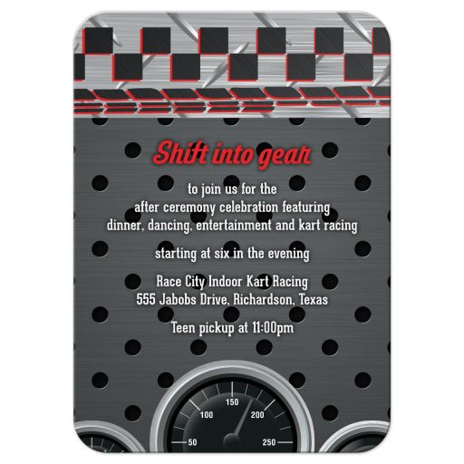 Red, grey, black and white race car car racing Bar Mitzvah reception insert card front