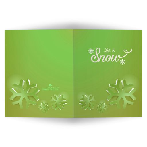Lime Green Funky Geometric Snowflakes Affordable Holiday Card