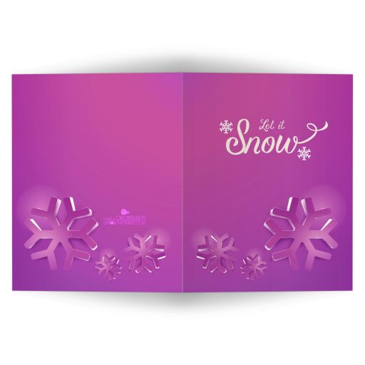 Hot Pink Funky Geometric Snowflakes Affordable Holiday Card