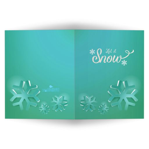 Trendy Teal Funky Geometric Snowflakes Affordable Holiday Card