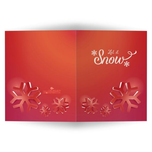 Funky Red Geometric Snowflakes Affordable Holiday Card