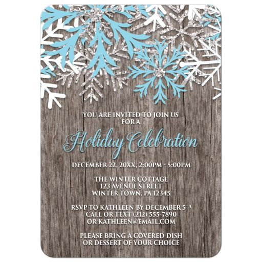 Holiday Invitations - Rustic Winter Wood Snowflake