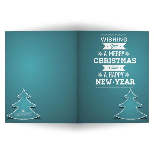 Affordably Simple Teal Christmas Tree Holiday Greeting Card