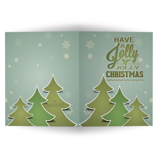 Jolly Retro Green Tree Trio Holiday Greeting Card