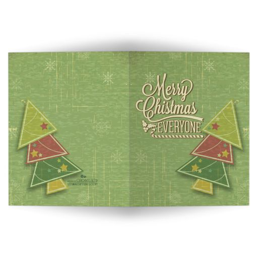 Green Grunge Geometric Christmas Tree Holiday Greeting Card