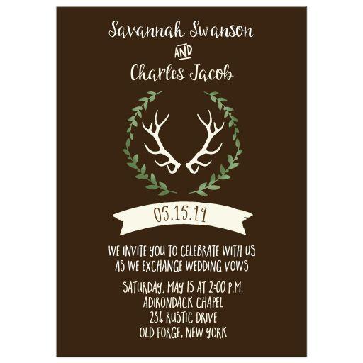 Deer Antler with Wreath Rustic Wedding Invitation