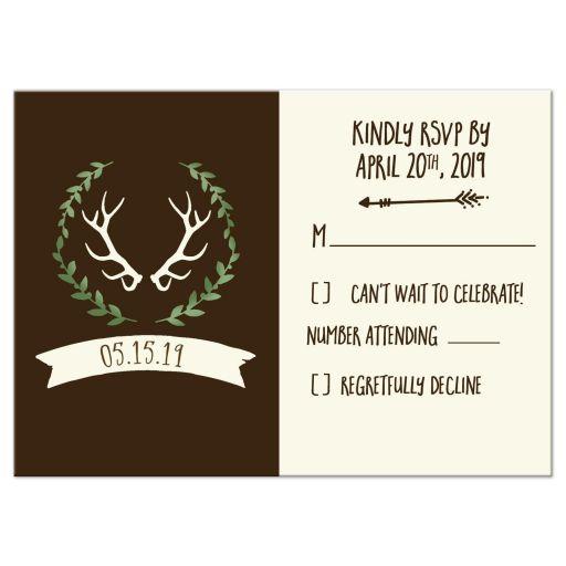 Deer Antlers Wedding RSVP Card