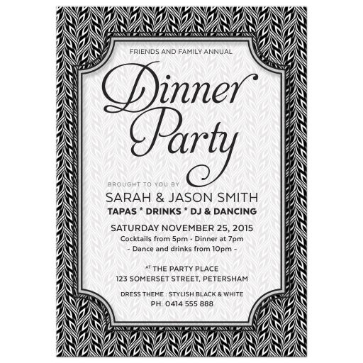 Simply Stylish 2 Black White Dinner Party Invite