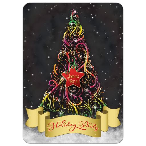 Swirly Christmas tree and ribbon Xmas holiday or winter party invitation front