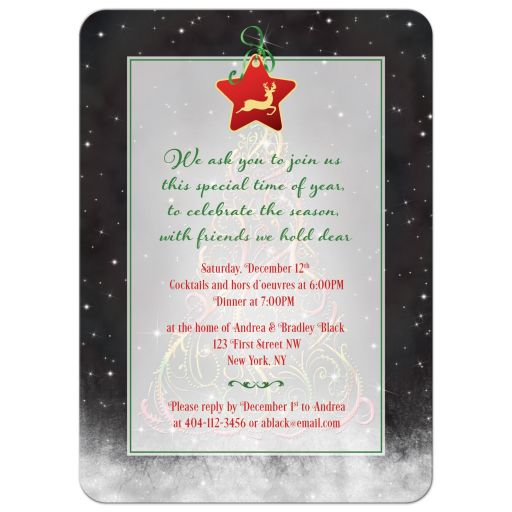 Swirly Christmas tree and ribbon Xmas holiday or winter party invitation back