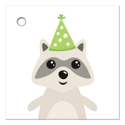 Cute raccoon wearing green party hat birthday favor gift tag