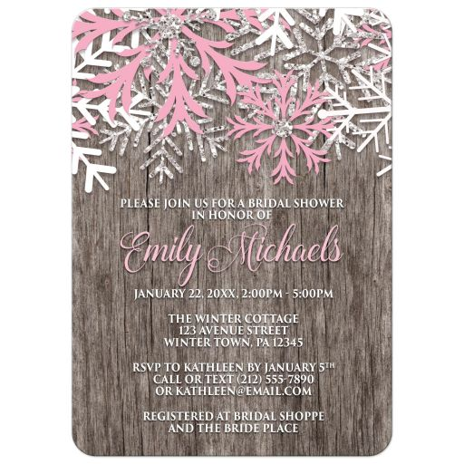 Bridal Shower Invitations - Pink Snowflake Rustic Winter Wood