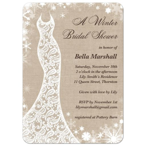 delicate snowflakes and a lacy wedding dress decorate this winter bridal shower invitation on a burlap background