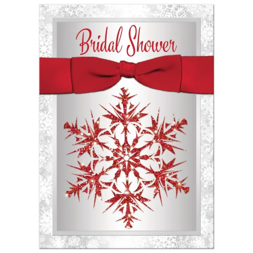 Great silver and white snowflakes winter wedding, bridal or couples shower invitation with a red ribbon and bow and red glitter snowflake.