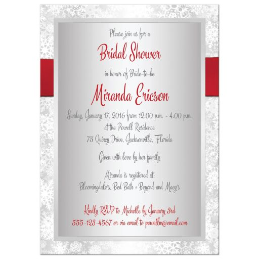 Best silver and white snowflakes winter wedding, bridal or couples shower invite with a red ribbon and bow and red glitter snowflake.