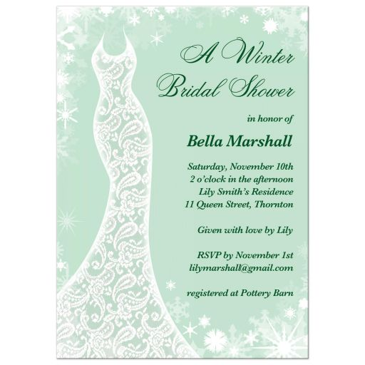 Bridal shower invitation beautiful winter mint snowflakes and a lacy wedding dress decorate this mint green winter bridal shower invitation filmwisefo