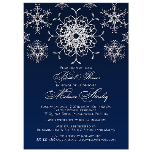 Best navy blue and silver glitter snowflakes winter wonderland wedding shower, bridal shower, or couples shower invitation.