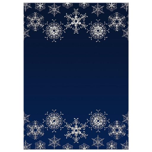 Great navy blue and silver glitter snowflakes winter wonderland wedding shower, bridal shower, or couples shower invite.