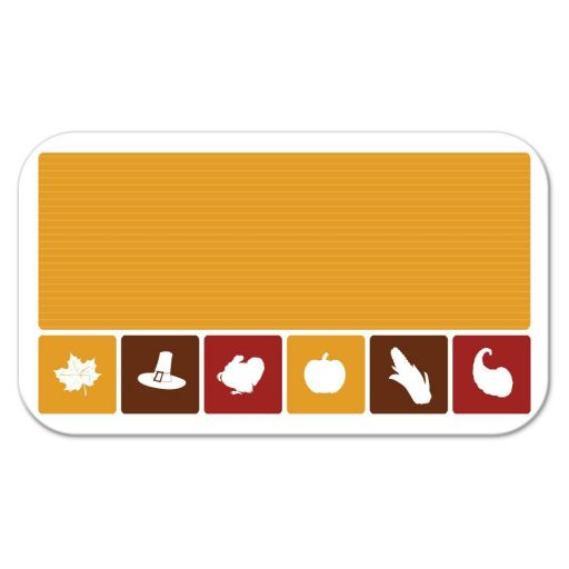 Flat Place Card - Simple Autumn Thanksgiving Icons Party