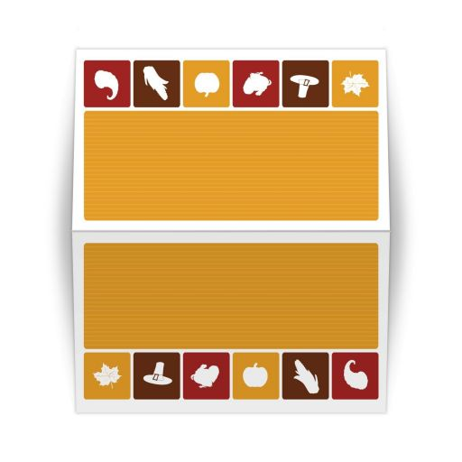 Folded Place Card - Simple Autumn Thanksgiving Icons