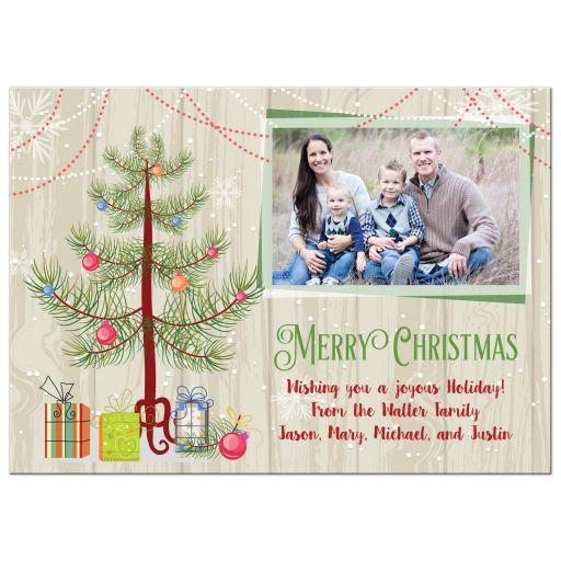 Festive wood grain Christmas flat A7 photo card