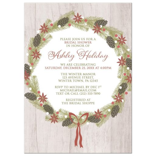 Bridal Shower Invitations - Rustic Pine Cone Wreath Wood