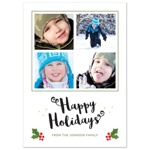 Happy holidays card with four template photos and holly with berries