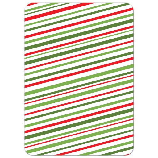 diagonal, red and green stripes. Back of modern Christmas holiday card