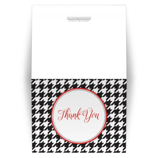 Thank You Cards - Stylish Black Houndstooth Red