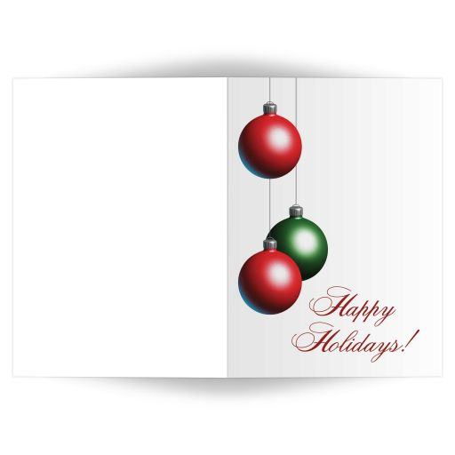 Christmas ornaments decorate this crisp white holiday card.