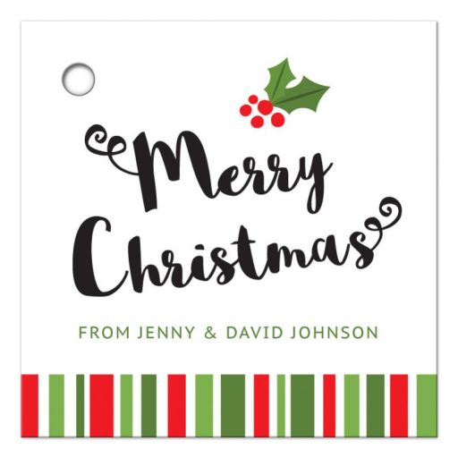 Personalized Merry Christmas gift tag with holly and red and green, striped border