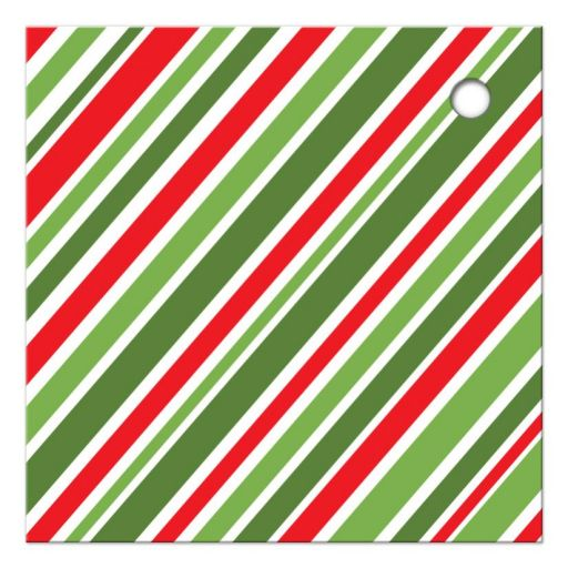 red and free, diagonal stripes. Back of Christmas holiday gift tag.